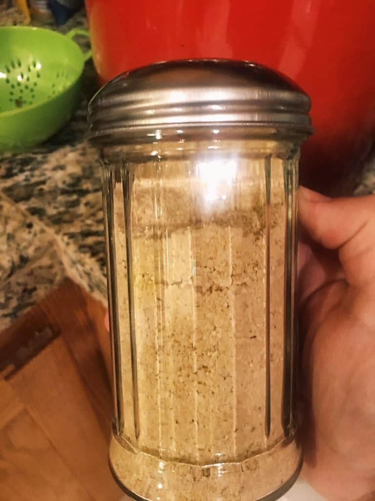 Vegan Parmesan Cheese in glass shaker jar