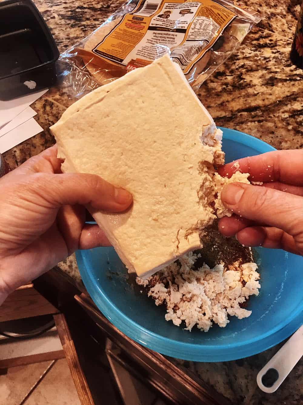 Tofu Being Crumbled