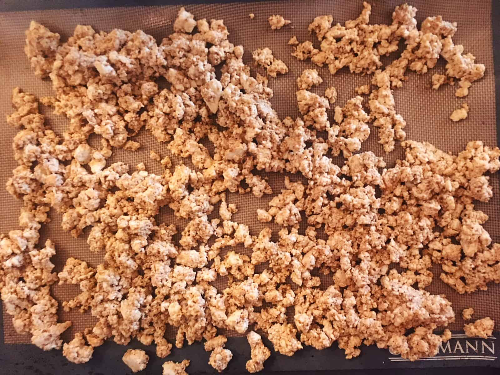 Tofu Crumbles Ready for Oven