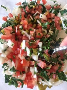 Mixing Pico de Gallo