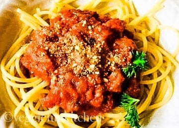 homemade pasta sauce on spaghetti
