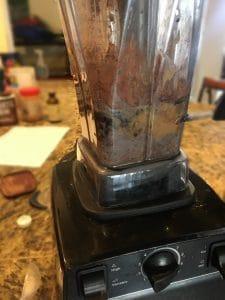 black bean brownie batter hummus in blender