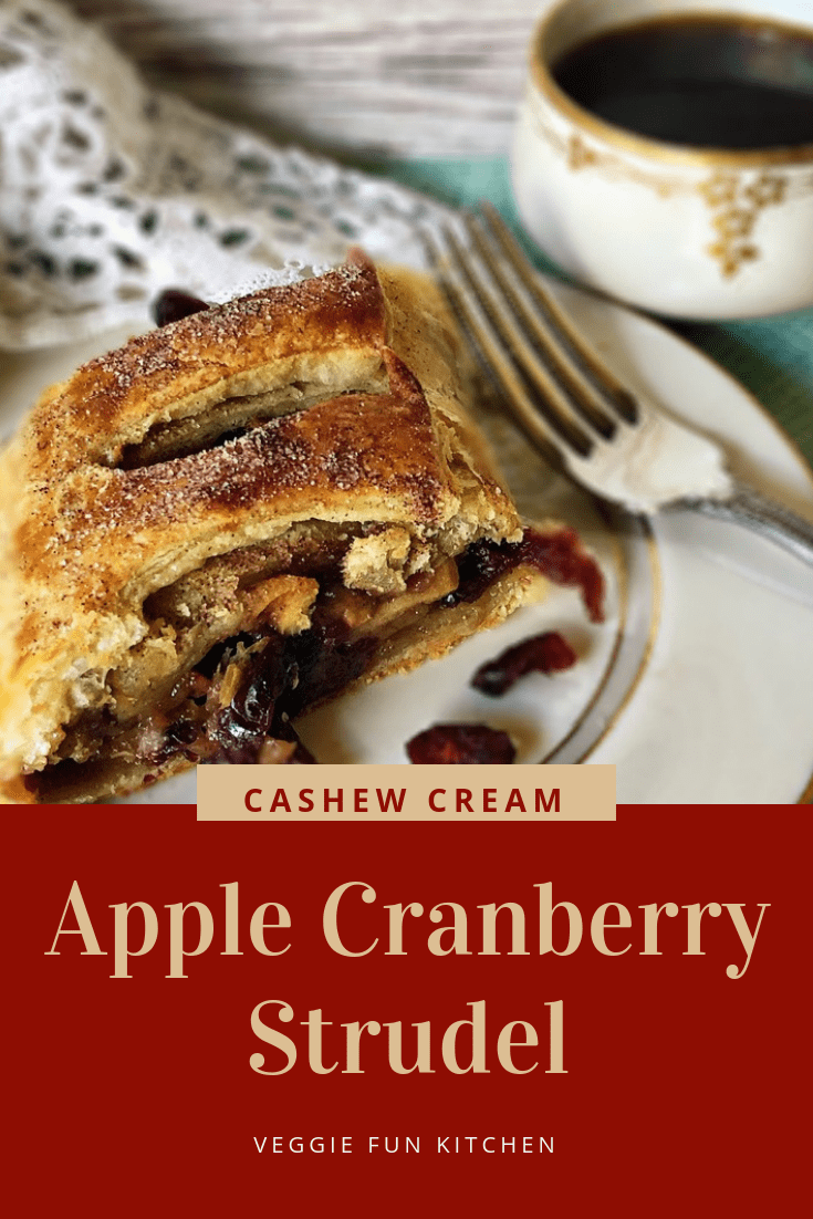 Puff Pastry Apple Cranberry Strudel with text overlay