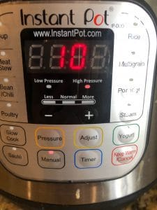 Instant Pot set for 10 minutes for African Peanut Stew