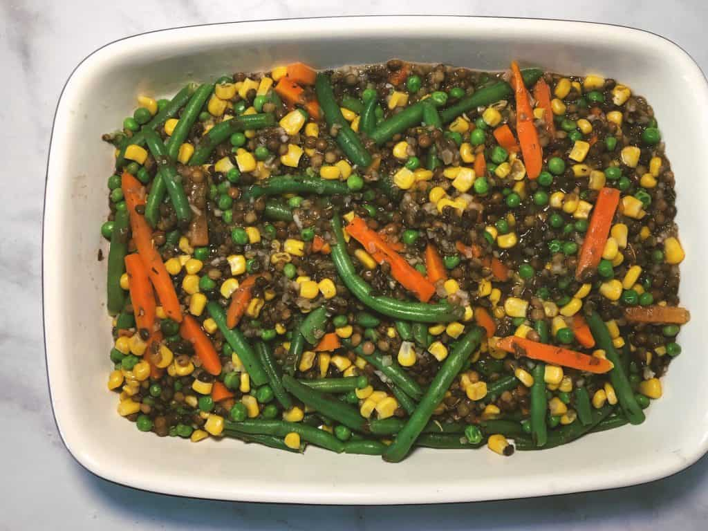 Easy Lentil Shepherd's Pie in a white baking pan