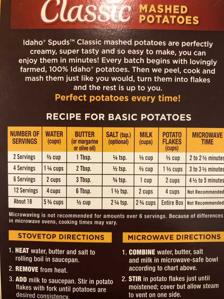 back of the box with directions for mashed potatoes