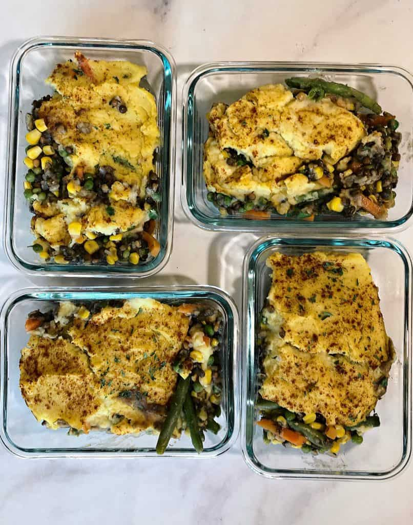Easy Lentil Shepherd's Pie in four meal prep containers