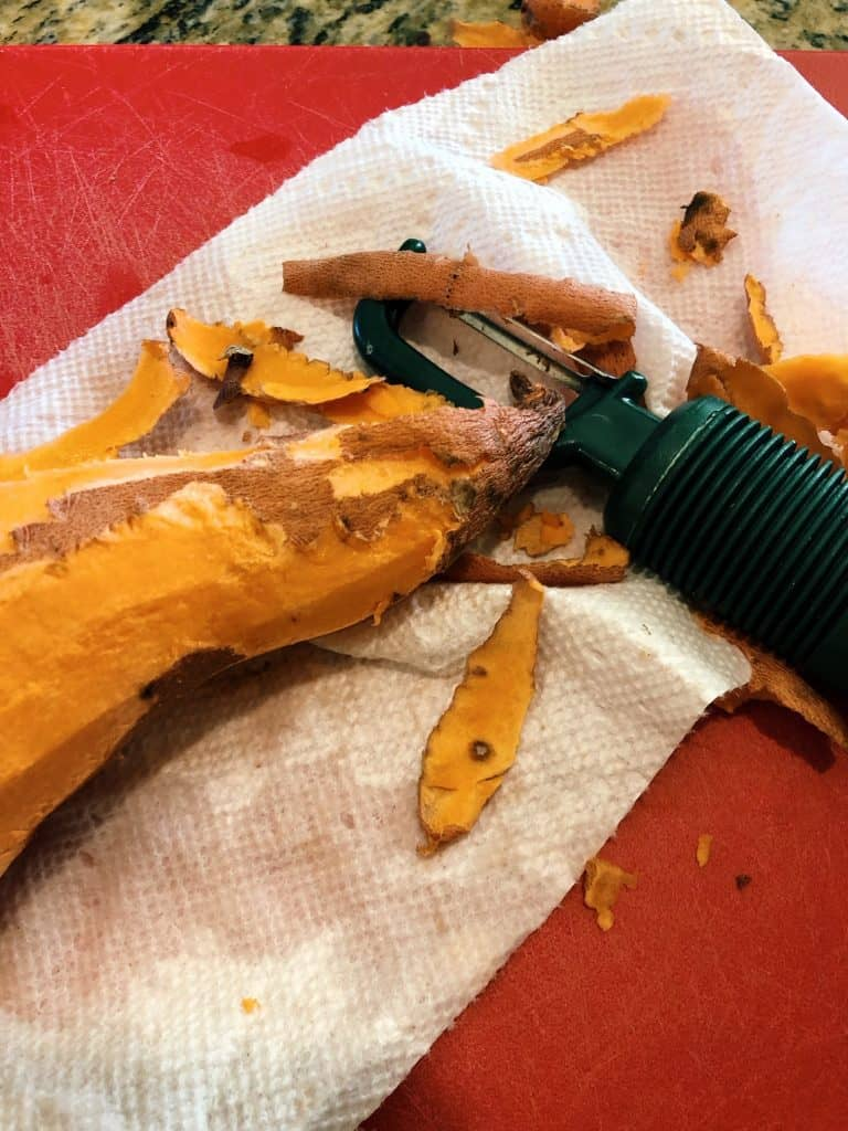 peeled sweet potato for African Peanut Stew