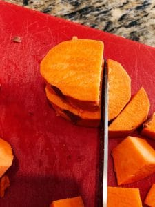 sweet potato cut for African Peanut Stew