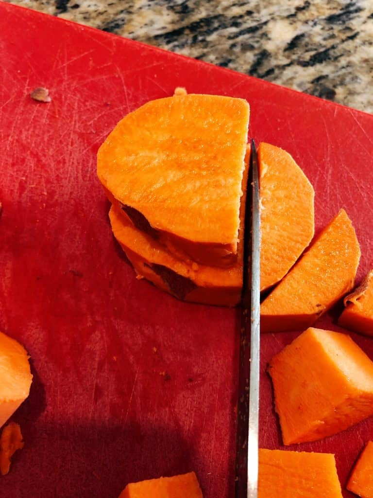 sweet potato cut for African Peanut Stew cut into chunks
