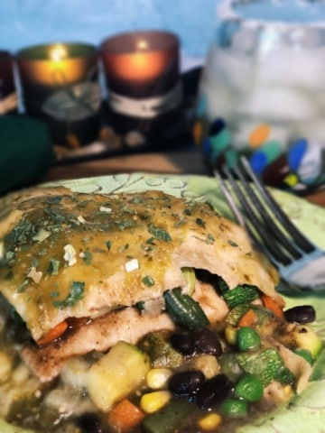 Salsa Verde Mexican Casserole on the plate - vegan and easy