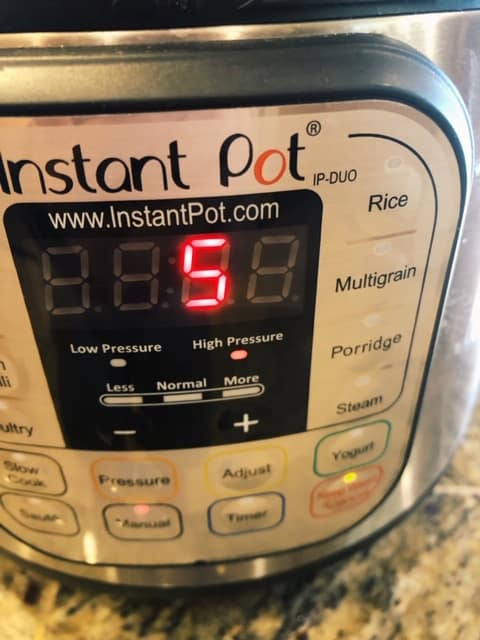 Instant Pot set to 5 minutes