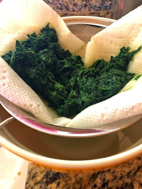 Spinach draining