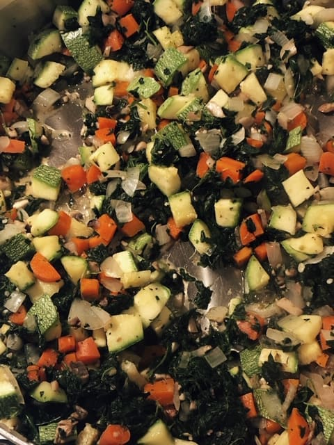 vegetables sautéing for vegan lasagna