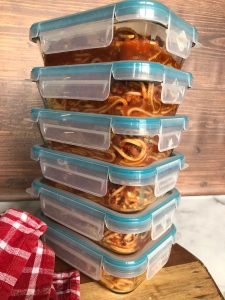 Easy Vegan Spaghetti in meal prep containers