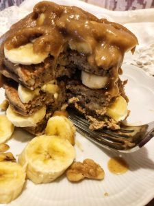 coconut date syrup on banana pancakes