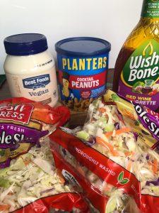 coleslaw mix, vegan mayonnaise, peanuts, red wine vinegar