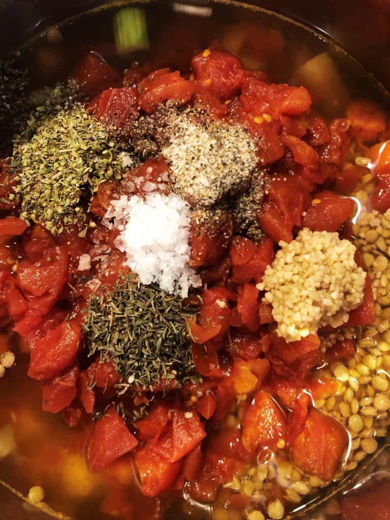 instant pot lentil soup ingredients