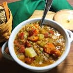 lentil soup in white bowl