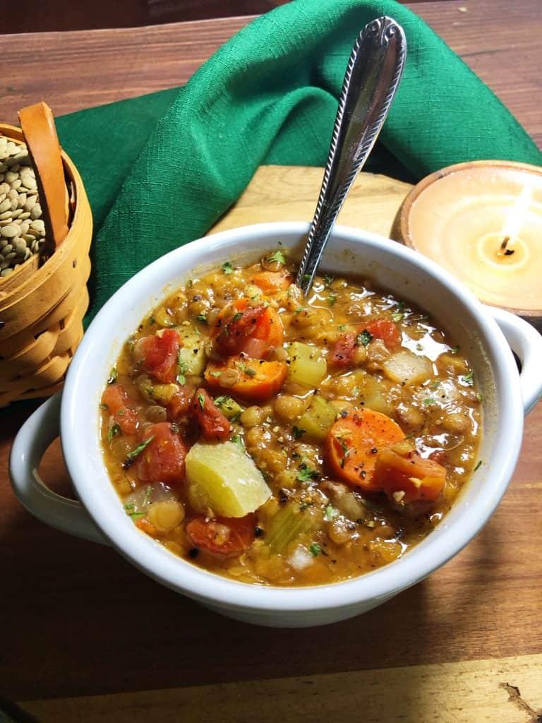 lentil soup in white bowl