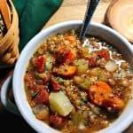 lentil soup white bowl
