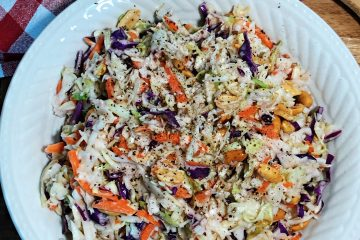 red wine vinegar coleslaw in white dish