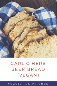 garlic herb beer bread (vegan) pin