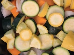 sliced and cubed yellow squash, zucchini, and butternut squash