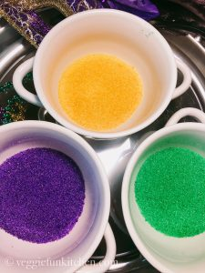 purple, yellow, and green sugar for king cake