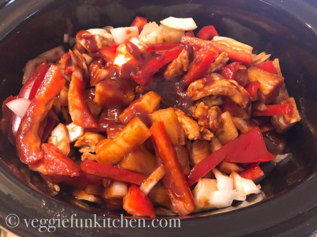 Hawaiian bbq soy curls over rice in slow cooker
