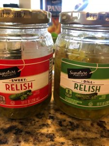 two jars pickle relish, one seed and one dill
