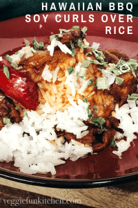 hawaiin bbq soy curls over rice pin