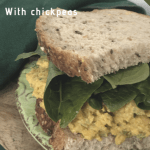 Vegan egg salad sandwich on green plate