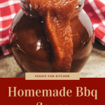 bbq sauce in glass jar with red checkered cloth