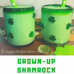 two green shamrock shakes in glasses with green polkadot straws