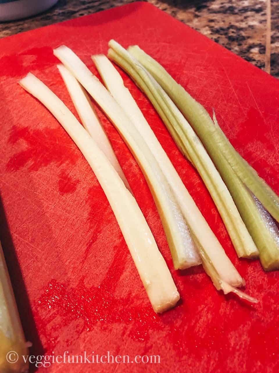 sliced celery lengthwise