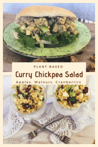 curried chickpea salad in glass dishes and on bun