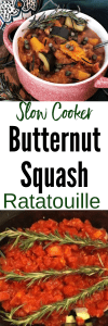 Slow Cooker Butternut squash ratatouille in red bowl and in crockpot with fresh sprigs of rosemary on top
