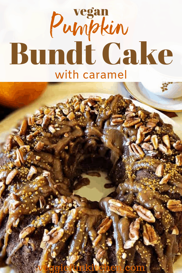 bundt cake with caramel sauce and pecans on top