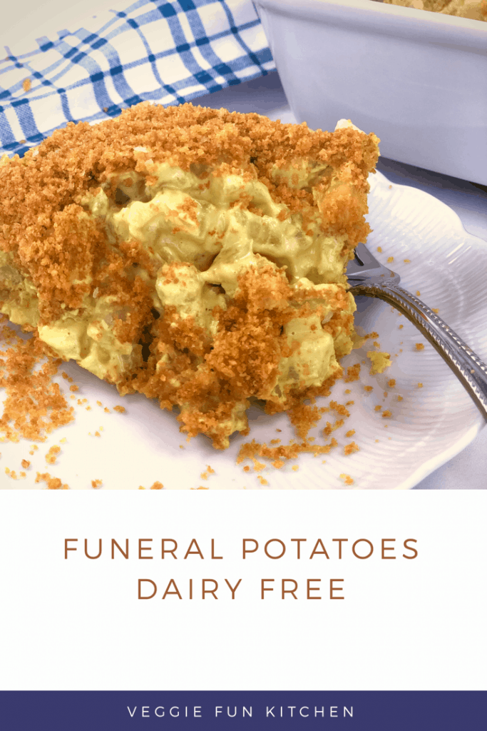 funeral potatoes on a white dish