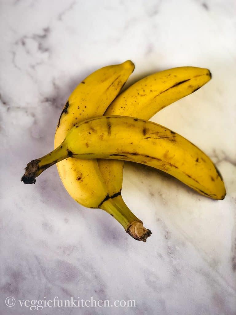three overripe bananas