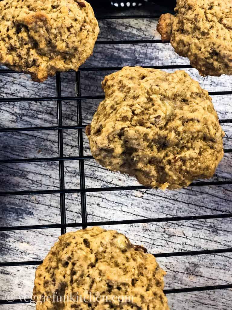 banana cookies cooling on rack