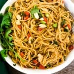 asian pasta salad in bowl