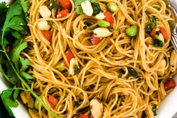 asian pasta salad in bowl