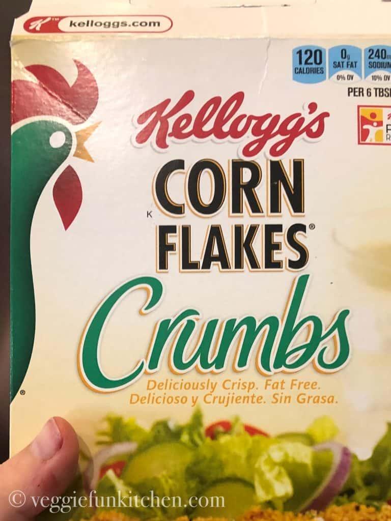 corn flakes crumbs in a box