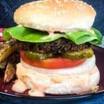 sweet potato black bean burgers on red plate