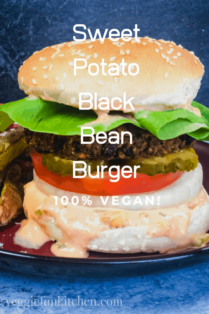 sweet potato black bean burger onn red plate with text overlay