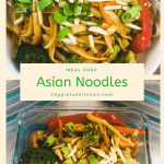 asian noodles in bowl and in meal prep container