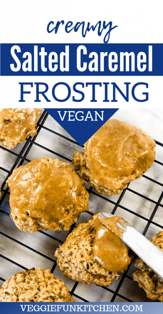 salted caramel frosting being spread on banana cookies