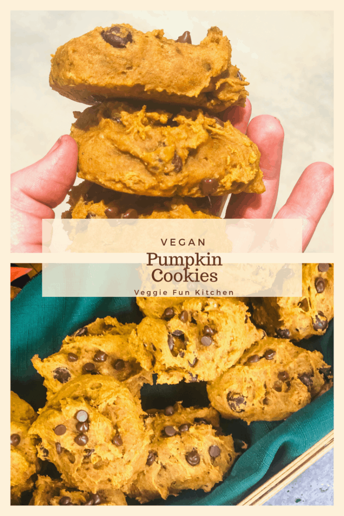 pumpkin cookies held in hand and in basket with text overlay